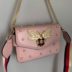 Gucci Pearly Bee Embellished Mini Pink Bag